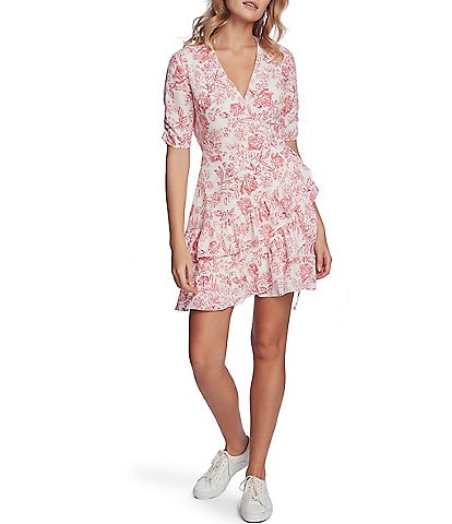 1. STATE Floral Print Ruffled Wrap Front Short Sleeve V-Neck Dress