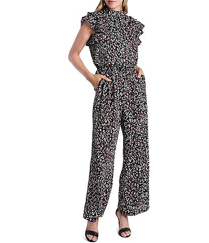 1. STATE Flutter Sleeve Mock Neck Cheetah Print Jumpsuit with Pockets