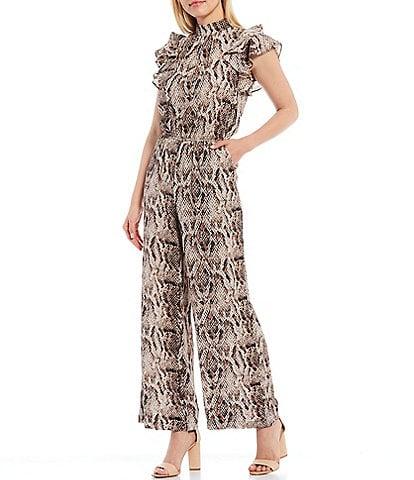 1. STATE Flutter Sleeve Mock Neck Ruffle Snake Print Jumpsuit