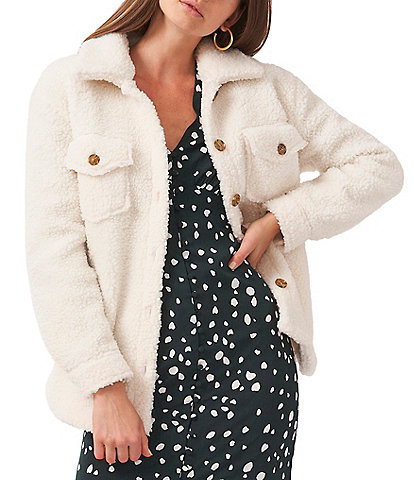 1. STATE Front Pocket Collared Long Sleeve Sherpa Cozy Shirt Jacket
