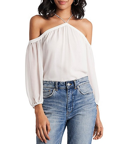 1. STATE Halter Neck Off-the-Shoulder 3/4 Sleeve Blouse