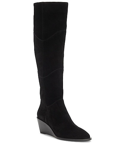 1. STATE Kern Suede Over-The-Knee Wedge Boots