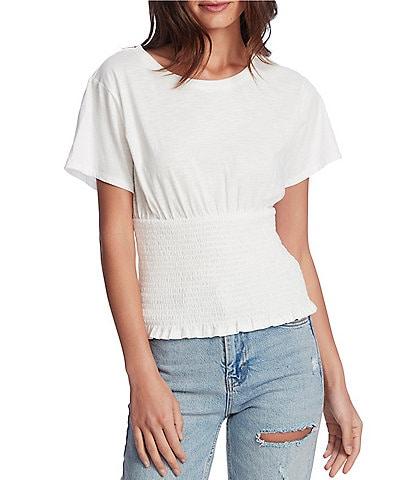 1. STATE Knit Short Sleeve Smocked Waist Top