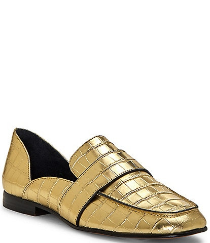 1. STATE Lare Croc Embossed Leather Loafers
