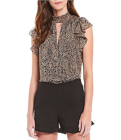 1. STATE Leopard Print Muse Keyhole Neck Ruffle Smocked Blouse
