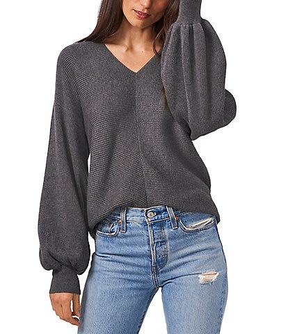 1. STATE Long Balloon Sleeve V-Neck Statement Sweater