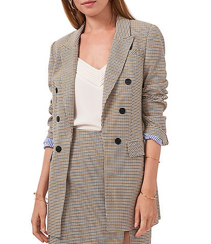 1. STATE Long Double Breasted Houndstooth Menswear Blazer