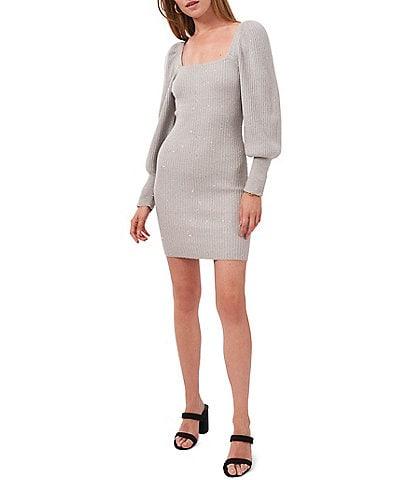 1. STATE Long Puff Sleeve Square Neck Sweater Mini Dress