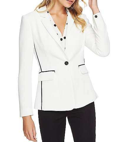 1. STATE Long Sleeve Contrast Stripe 1-Button Blazer