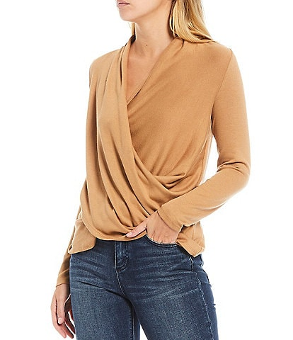1. STATE Long Sleeve Cross Front Cozy Knit Top