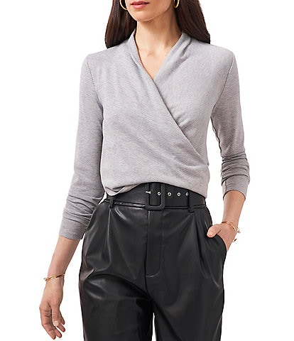 1. STATE Long Sleeve Surplice V-Neck Cross Front Cozy Knit Top
