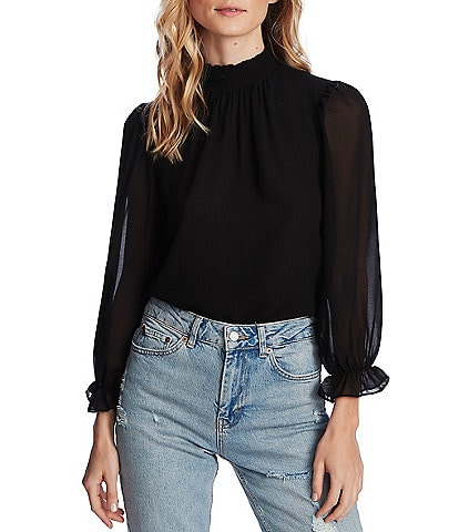 1. STATE Long Sleeve Elastic Ruff Cuff Smocked Neck Blouse