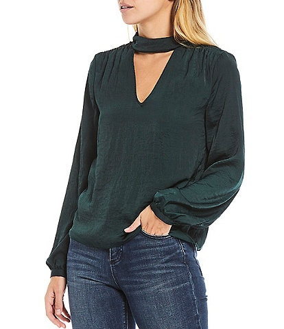 1. STATE Long Sleeve Satin Mock Neck Cutout Detail Blouse