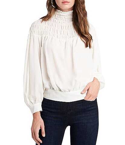 1. STATE Long Sleeve Mock Neck Smocked Yoke Top