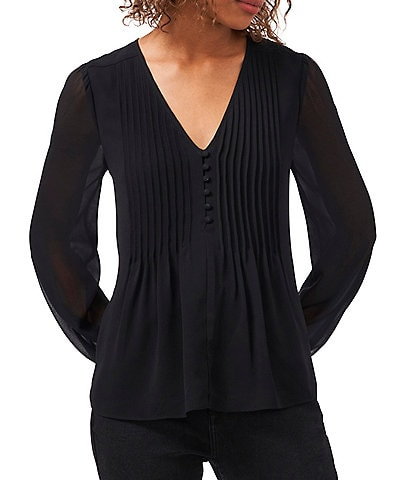 1. STATE Long Sleeve V-Neck Pleated Button Front Blouse