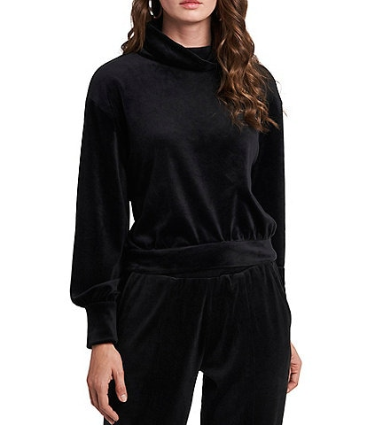 1. STATE Long Sleeve Velour Turtleneck Top