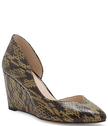 1. STATE Melman Snake Print Leather d'Orsay Wedge Pumps