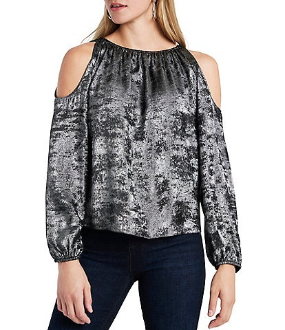 1. STATE Metallic Cold Shoulder Long Sleeve Top