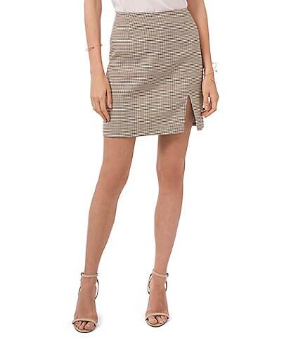 1. STATE Printed Side Slit Pencil Mini Skirt