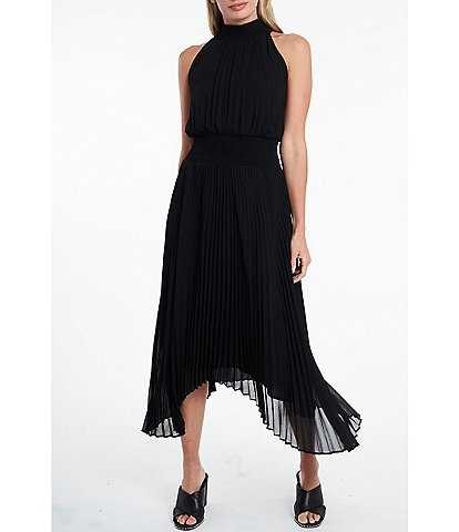 1. STATE Mock Neck Sleeveless Pleated Sharkbite Hem Midi Dress