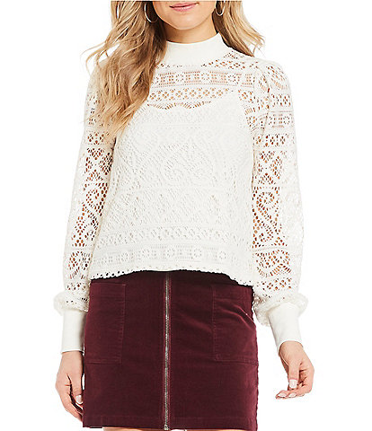 1. STATE Mock Neck Cropped Romantic Lace Top