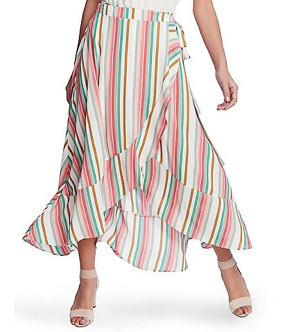 1. STATE Multi Striped Wrap Front Hi-Low Ruffle Hem Skirt