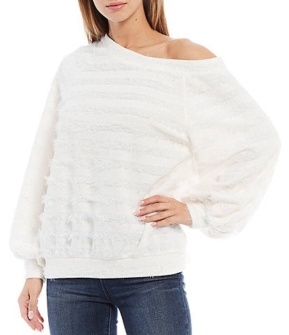 1. STATE One-Shoulder Slouchy Balloon Sleeve Eyelash Sweater Top