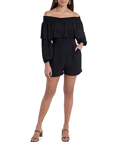 1. STATE Off-The-Shoulder Ruffle Long Sleeve Pocketed Romper