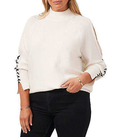 1. STATE Plus Size Cable Knit Cold Shoulder Mock Neck Lace Up Long Sleeve Statement Sweater