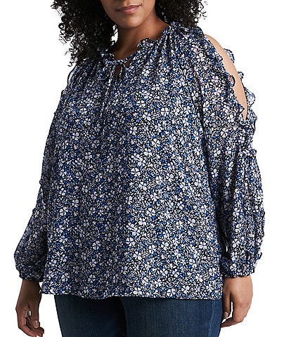 1. STATE Plus Size Cold Shoulder Floral Print Ruffled Long Sleeve Blouse