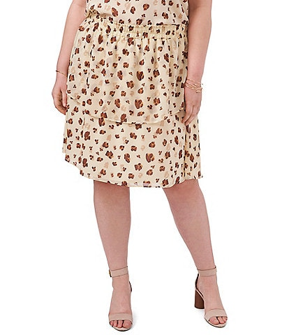 1. STATE Plus Size Floating Leopard Tiered Smocked Waist Coordinating Skirt