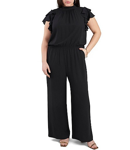 1. STATE Plus Size Flutter Sleeve Mock Neck Bow Tie Back Neck Wide Leg Jumpsuit