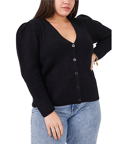 1. STATE Plus Size Long Puff Sleeve V-Neck Button Front Cardigan Top