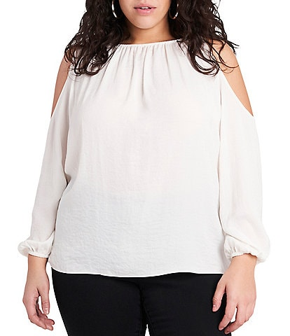 1. STATE Plus Size Long Sleeve Cold Shoulder Blouse