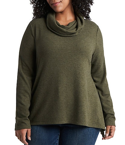 1. STATE Plus Size Long Sleeve Cowl Neck Tunic