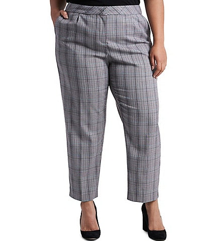 1. STATE Plus Size Menswear Plaid Tapered Pants