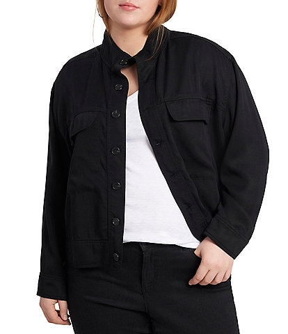 1. STATE Plus Size Mock Neck Button-Front Utility Jacket