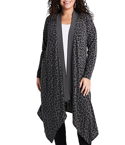 1. STATE Plus Size Open Front Leopard Print Maxi Cardigan