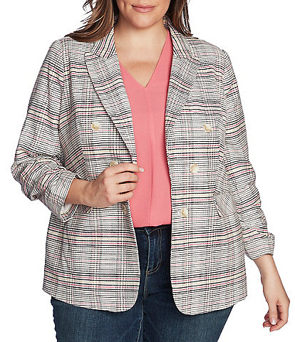 1. STATE Plus Size Ruched Sleeve Double Breasted Cotton Blend Plaid Blazer