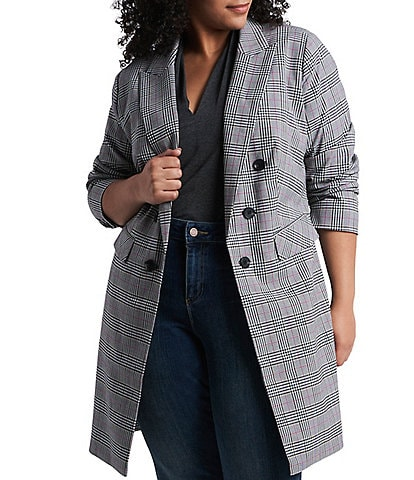 1. STATE Plus Size Ruched Sleeve Open Front Long Plaid Blazer