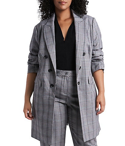 1. STATE Plus Size Ruched Sleeve Plaid Long Blazer