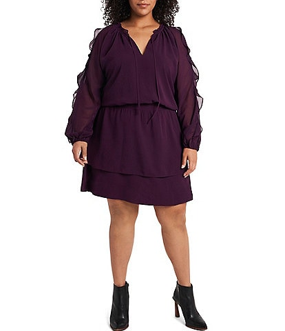1. STATE Plus Size Ruffled Long Sleeve Cold Shoulder Dress