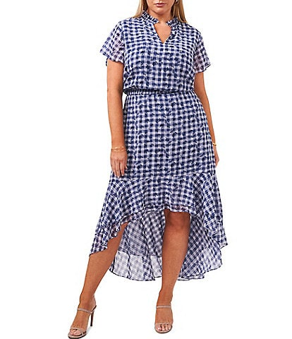 1. STATE Plus Size Short Sleeve Gingham Floral High-Low Dress