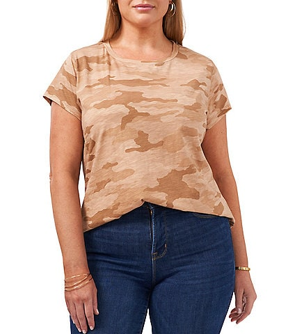 1. STATE Plus Size Short Sleeve Wild Oak Camo Tee