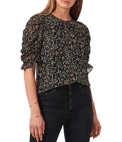 1. STATE Puffed Short Sleeve Crew Neck Floral Blouse