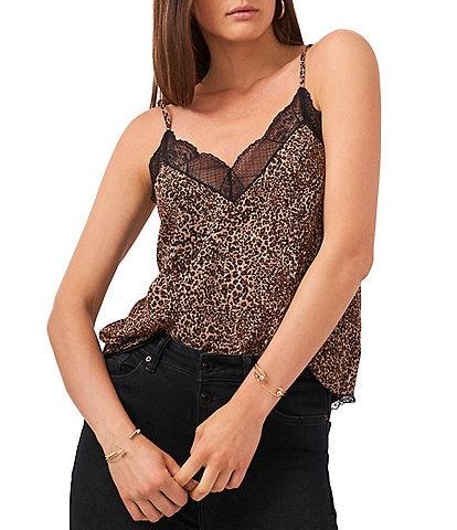 1. STATE Racerback Lace Trim Leopard Print V-Neck Sleeveless Cami