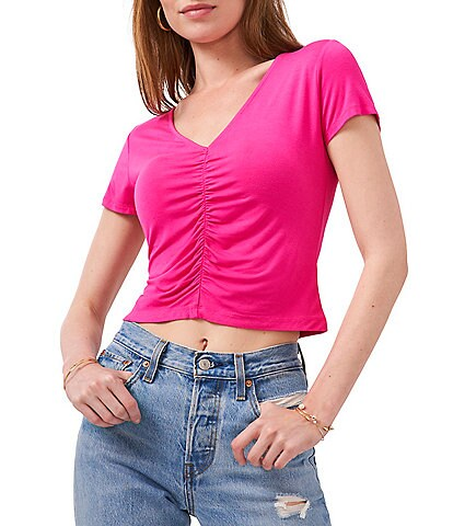 1. STATE Ruched Short Sleeve V-Neck Knit Tee