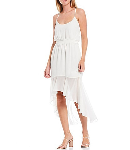 1. STATE Scoop Neck Spaghetti Strap Hi-Low Ruffle Midi Dress