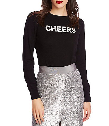 1. STATE Sequin Cheers Long Sleeve Crew Neck Sweater