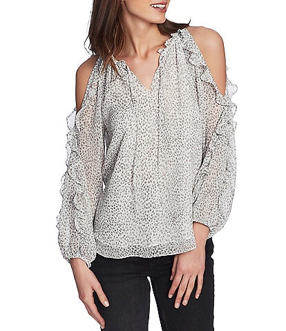 1. STATE Serene Spotted Cheetah Print Ruffled Cold Shoulder Blouse